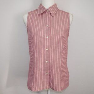 Gap Red White Striped Sleeveless Button Up Small